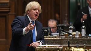 Premierminister Boris Johnson währen einer Rede im Parlament
