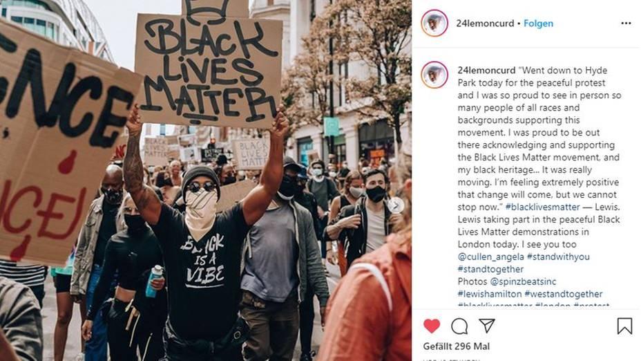 Dieses Bild von sich postete Lewis Hamilton auf Instagram