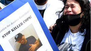 Demonstrationen in Gardena, Kalifornien, nach dem Tod des 18-jährigen Andres Guardado