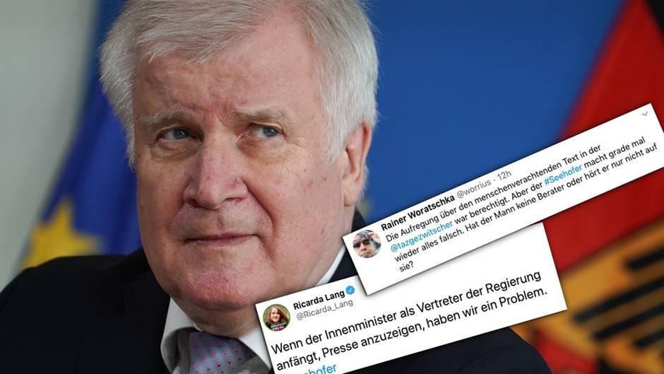"Seehofer plant Strafanzeige gegen ""Taz""-Journalistin – Twitter-User reagieren empört"