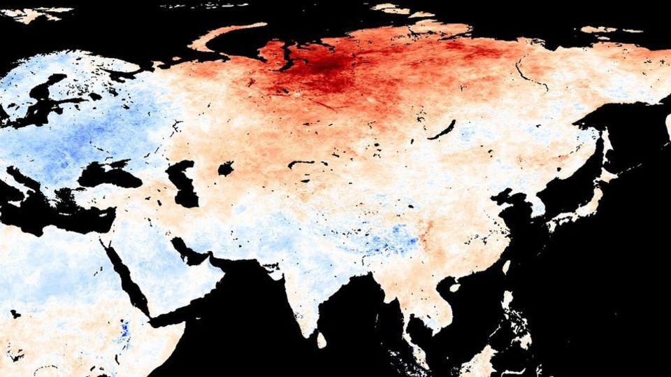 Temperaturkarte für den Monat Mai: Unterdurchschnittliche Werte sind blau gekennzeichnet, überdurchschnittliche rot
