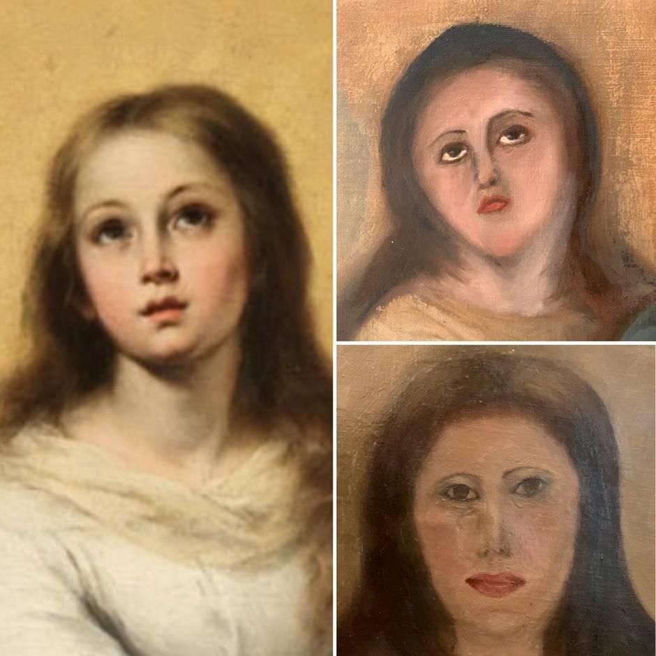 Die vom Sammler zur Verfügung gestellte Kombo zeigt die Kopie eines der Marienbildnisse des spanischen Barockmalers Bartolome Esteban Murillo (l), den ersten Restaurierungsversuch (oben) und den zweiten.