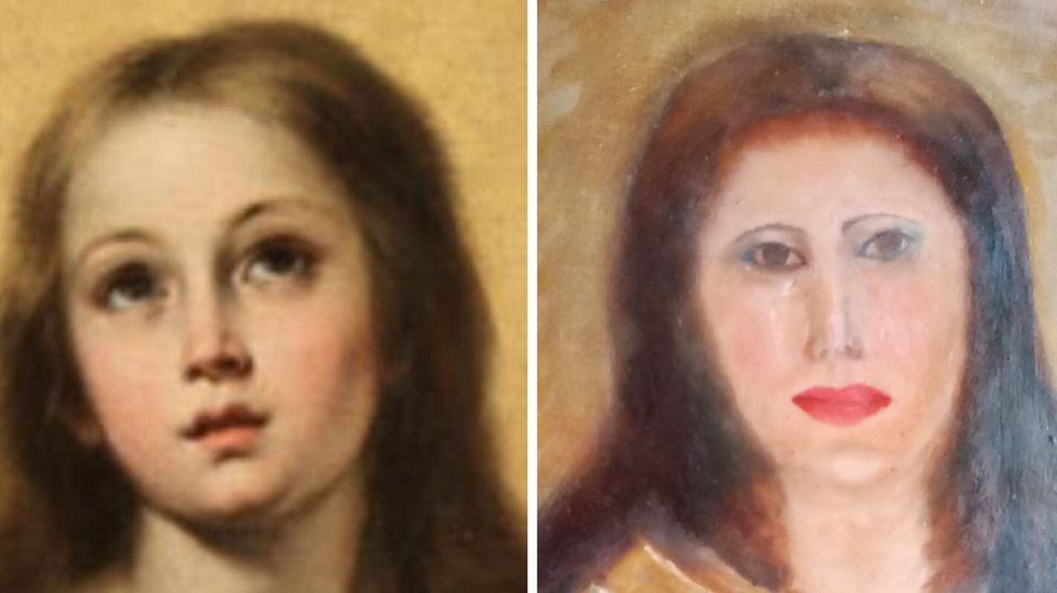 Nachdem misslungenen Restaurierungsversuch: das Marienbild des spanischen Barockmalers Bartolome Esteban Murillo