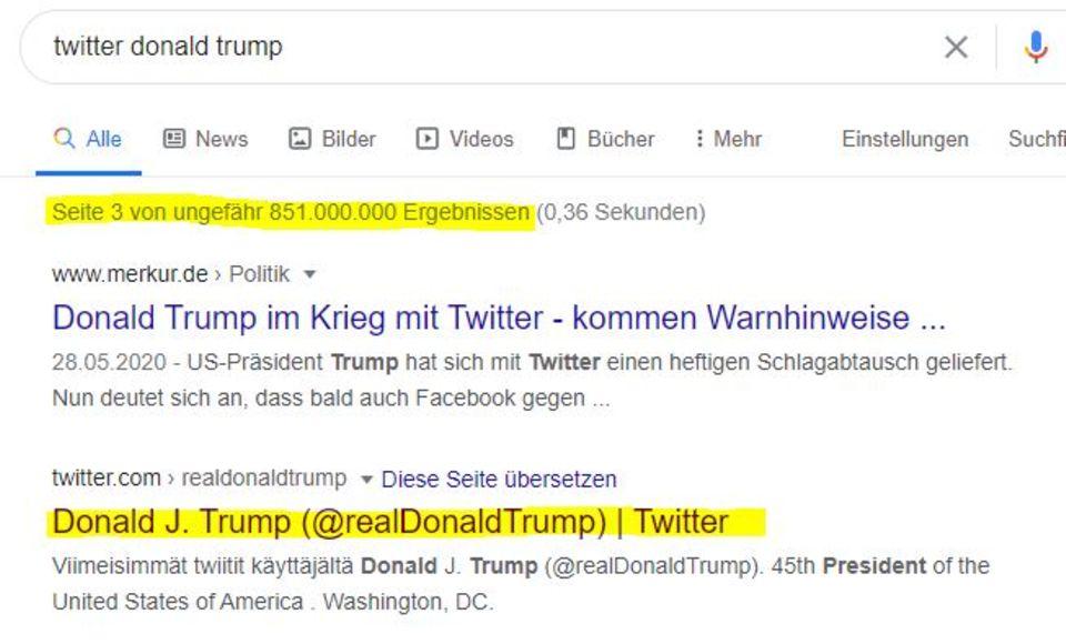 """Erst auf Seite 3 der Google-Suche taucht seit einiger Zeit Donald Trumps Twitter-Account """"@realDonaldTrump"""" auf."""