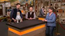 """""""Bares für Rares""""-Experte Colmar Schulte Goltz, Moderator Horst Lichter und Verkäuferin Kolb"""