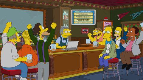 """""""Simpsons""""-Figuren sitzen jubelnd an der Bar"""
