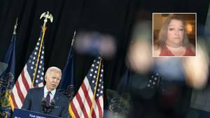 """""""TikTok-Grandma"""" kämpft für Biden: Joe Biden steht bei einem Wahlkampfauftritt auf der Bühne"""