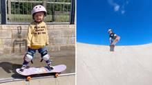 Dreijährige beeindruckt mit wahnsinnigen Skate-Skills