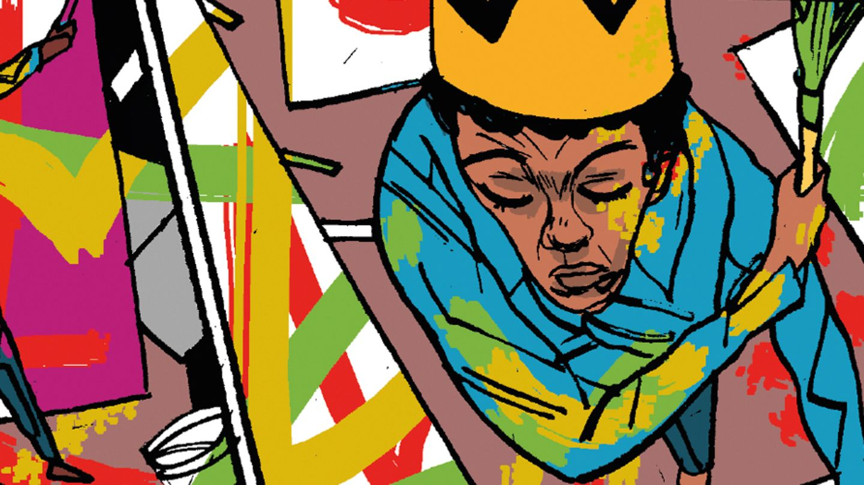 Zeichnung des Künstlern mit Krone