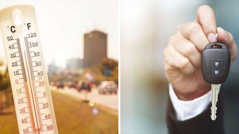 Ein Thermometer zeigt, wie heiß es ist. Eine Hand hält einen Autoschlüssel.