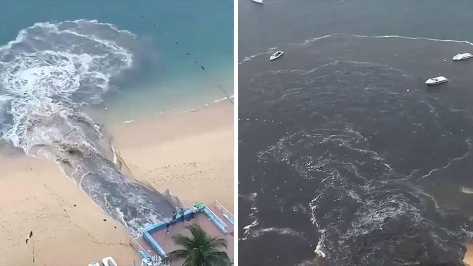 Abwasser werden in das Meer von Acapulco geleitet