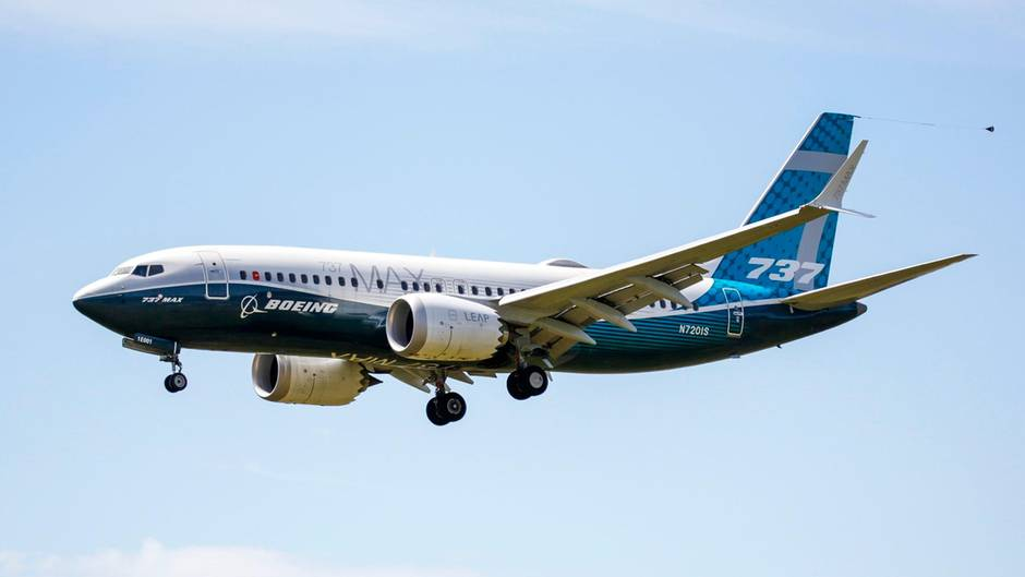 Im Landeanflug auf dasBoeing Field in Seattle: eine Boeing 737 Max nach den Testflügen