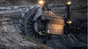 Schaufelrad eines Braunkohlebaggers im Tagebau Hambach
