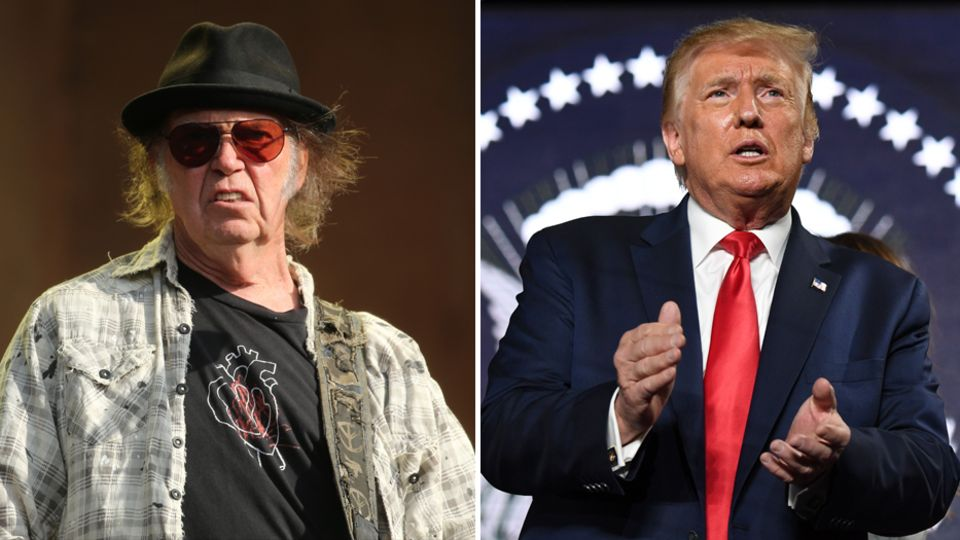 Der US-Songwriter Neil Young (l.) und US-Präsident Donald Trump