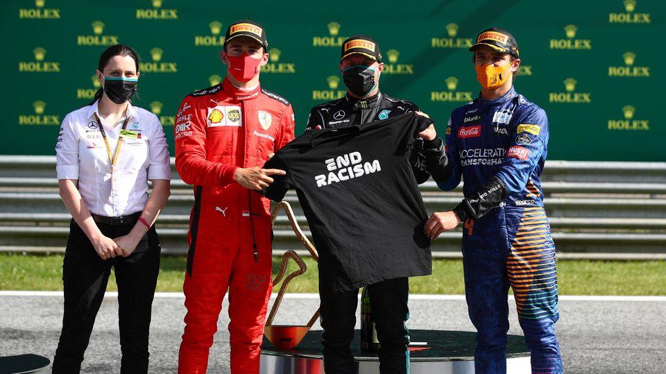 Sieger beim Geisterrennen in Spielberg: Valtteri Bottas (M.) für Mercedes
