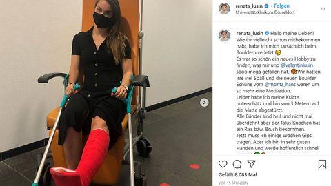 Tänzerin Renata Lusin hat sich bei einem Boulder-Unfall den Fuß gebrochen