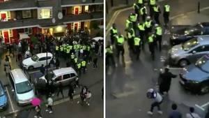 Rave-Teilnehmer bewerfen die Polizei mit Gegenständen im Londoner Stadtteil White City.