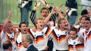 WM 1990: Andreas Brehme, Pierre Littbarski, Jürgen Klinsmann, Bodo Illgner