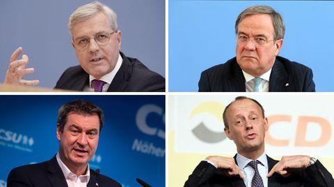 Unions-Poltiker Norbert Röttgen, Friedrich Merz, Markus Söder und Armin Laschet: