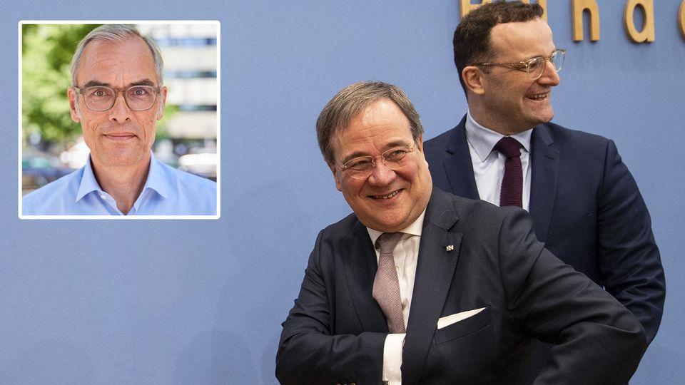 Armin Laschet und Jens Spahn haben sich nicht gerade für die Nachfolge von Angela Merkel empfohlen, meint stern-Kolumnist Frank Schmiechen (l.o.)