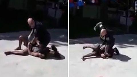 Ein Polizist im US-Bundesstaat New York kniet auf dem Hals eines Verdächtigen.