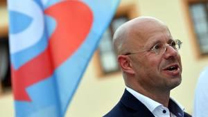 Der Brandenburger AfD-Politiker Andreas Kalbitzauf einerKundgebung der Partei