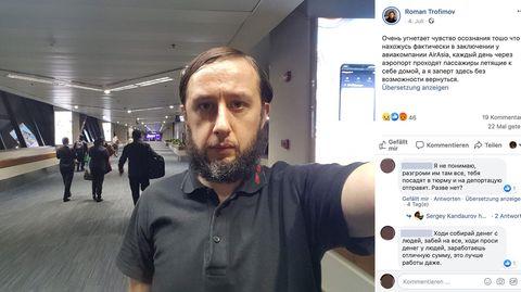 Roman Trofimov macht ein Selfie am Flughafen