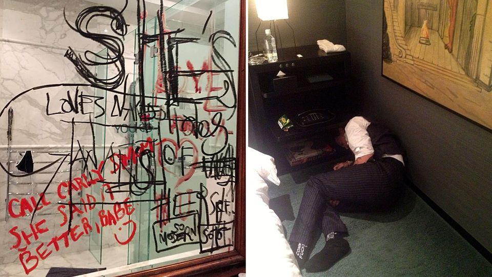 Ein beschmierter Spiegel und Johnny Depp am Boden: Diese Aufnahmen wurden in London vor Gericht gezeigt