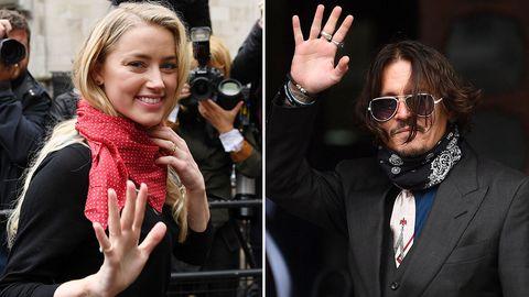Amber Heard und Johnny Depp vor dem Gerichtsgebäude in London