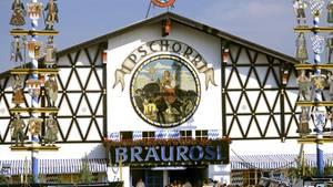 """Blick auf das """"Bräurosl""""-Festzelt auf dem Münchner Oktoberfest"""