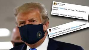 US-Präsident Donald Trump zeigt sich erstmals mit einer Maske in der Öffentlichkeit.
