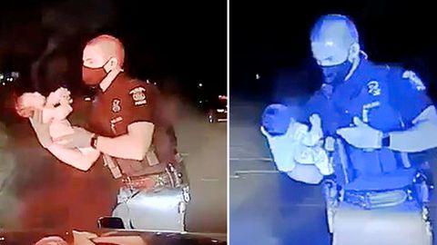 Ein Polizeibeamter rettet einem Säugling das Leben.