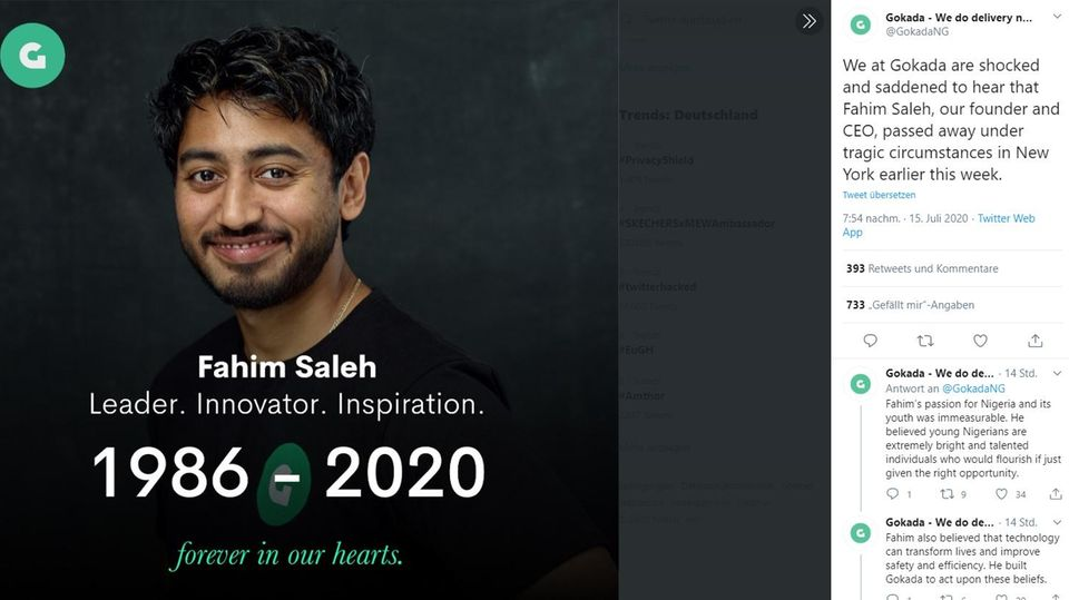 Fahim Saleh war CEO des Start-ups Gokada, das den Tod des Unternehmers via Twitter verkündete