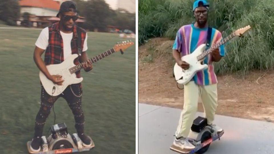 Musiker Chavis Flagg auf seinem Skateboard