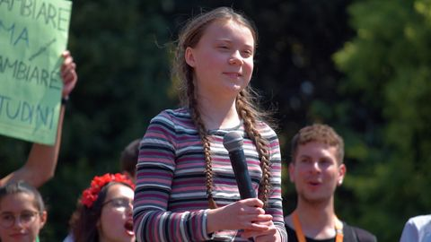 Greta Thunberg spricht auf einer Veranstaltung in der italienischen Hauptstadt Rom