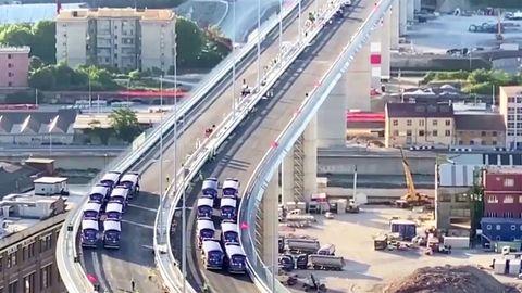 Genua-Brücke: Video zeigt Stresstest mit 16 Lkw
