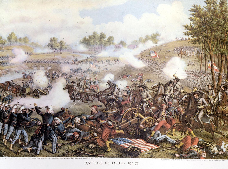 21. Juli 1861: Konföderierte und Unionstruppen schlagen ihre erste Schlacht  An dem Fluss Bull Run schlagen an diesem Tag Truppen der Konföderiertenarmee des Südens und der Unionsregierung des Nordens die erste Schlacht des amerikanischen Bürgerkrieges.Nach dessen Ausbruchim April 1861 wolltedie Union unter demPräsidenten Abraham Lincoln den Aufstand der Südstaaten so schnell es geht beenden. Am 21.Juli 1861 stoßen unerfahrene Rebellen und Truppen aufeinander. Die Gravur zeigt das dramatische Geschehen auf dem Schlachtfeld. Tausende werden getötet. Lincolns Plan geht nicht auf, und die Nation stürzt in einen vier Jahre dauernden Krieg.
