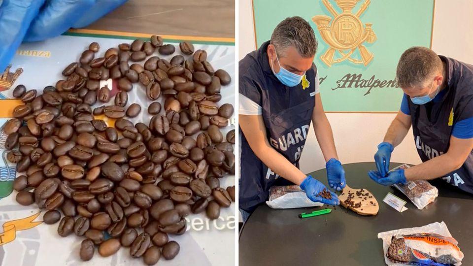 Italien: Ermittler finden in ausgehöhlten Kaffeebohnen 130 Gramm Kokain.