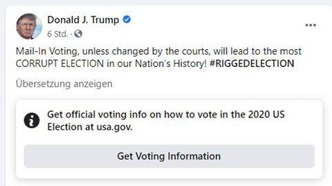 """Facebook versieht Trump-Posting mit Verweis auf """"offizielle Informationen"""""""
