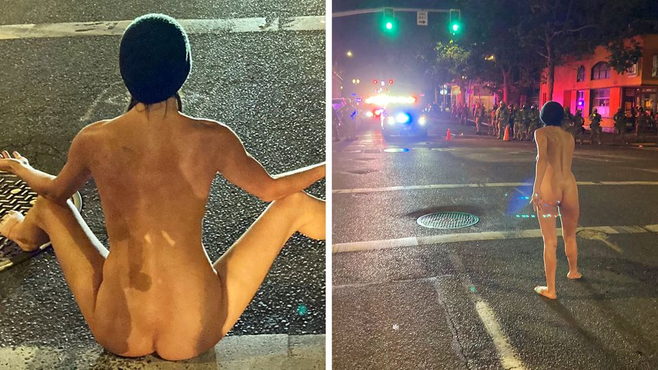 Nackte Frau stellt sich Trumps Bundespolizei entgegen