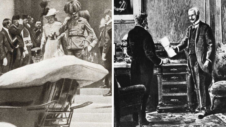 Links Erzherzog Franz Ferdinand mit seiner Frau Sophie, rechts eine Zeichnung der Überreichung des Ultimatums an Serbien