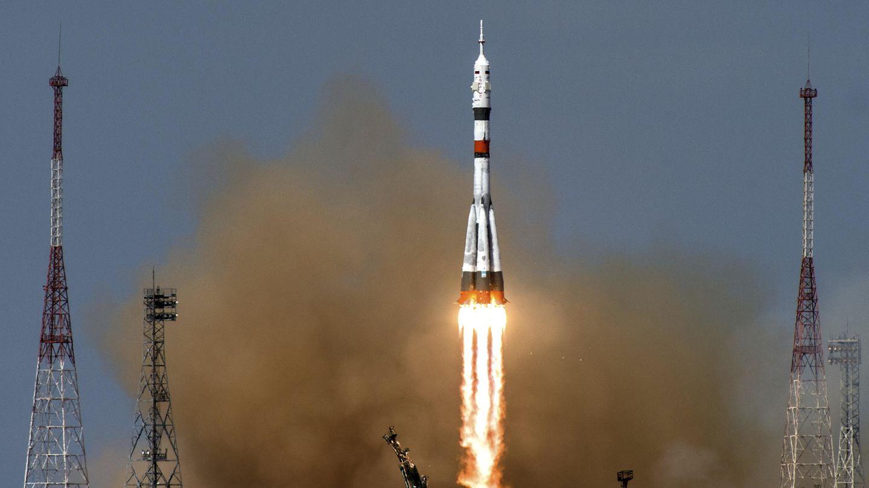 Baikonur, Kasachstan: Die russische Sojus-MS16-Rakete beim Start.