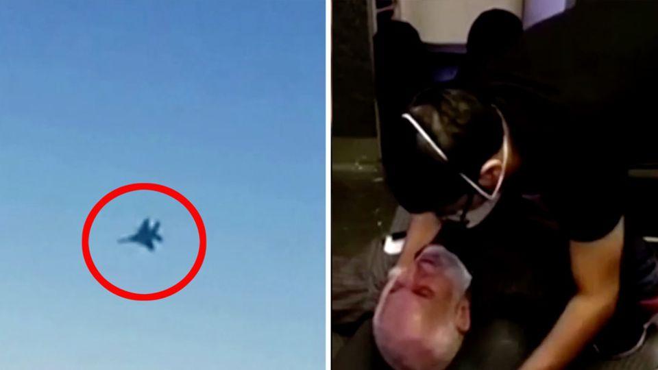 Links ist in einem roten Kreis die Kontur eines Kampfjets am Himmel zu sehen, rechts liegt ein Mann am Boden eines Flugzeugs
