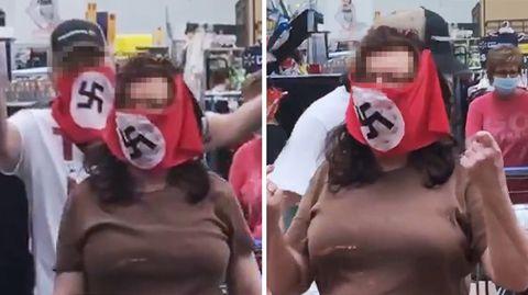 USA: Paar mit Hakenkreuz-Maske bei Walmart.
