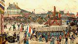 """28. Juli 1794: Der """"Blutrichter""""der Französischen Revolution endetselbst auf dem Schafott  La Terreur - der Schrecken -so nennen Franzosen die Zeit, die der Französischen Revolution folgte. Vor allem ein Mann prägte diese:Maximilien Robespierre.Er war derjenige, der den König zum Verräter Frankreichs und zum Verbrecher an der Menschheit erklärte.Der Nationalkonvent sprach sich daraufhinfür die sofortige Hinrichtung LudwigsXVI. aus. Am 21. Januar wurde der Königdurch dieGuillotineenthauptet.  In der Folgezeit unterstützte Robespierre alle Maßnahmen gegen sogenannte """"Feinde der Revolution"""", was ihm bald den Ruf des """"Blutrichters""""der Französischen Revolution eintrug.SeineTerrorherrschaft dauerte von Anfang Juni 1793 bis Juli 1794. 25.000 bis 40.000 Menschen fielen in dieser Zeit demTerrorzum Opfer.  Am Ende erwartete Robespierre dasselbe Schicksal wie seine Opfer. Am 28. Juli 1794 wurden erund 21 seiner Anhänger ohne vorherigen Prozess durch die Guillotine enthauptet. Diese Zeichnung eines unbekannten Künstlers zeigt die Hinrichtung, die den großen Terror beendete."""