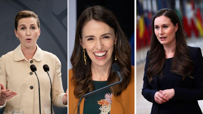 Die Regierungschefinnen Mette Frederiksen (Dänemark), Jacinda Ardern (Neuseeland) und Sanna Marin (Finnland)