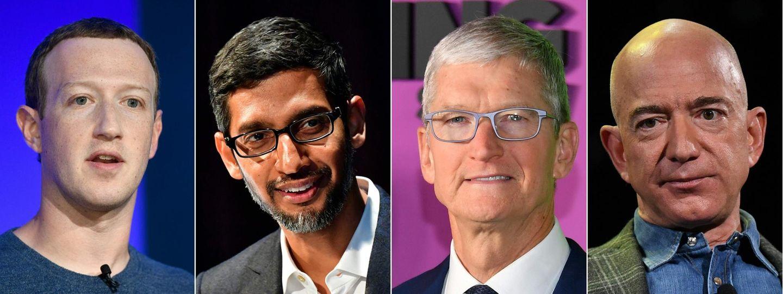 Die Tech-Bosse (v.l.n.r.) Mark Zuckerberg (Facebook), Sundar Pichai (Google), Tim Cook (Apple) und Jeff Bezos (Amazon)