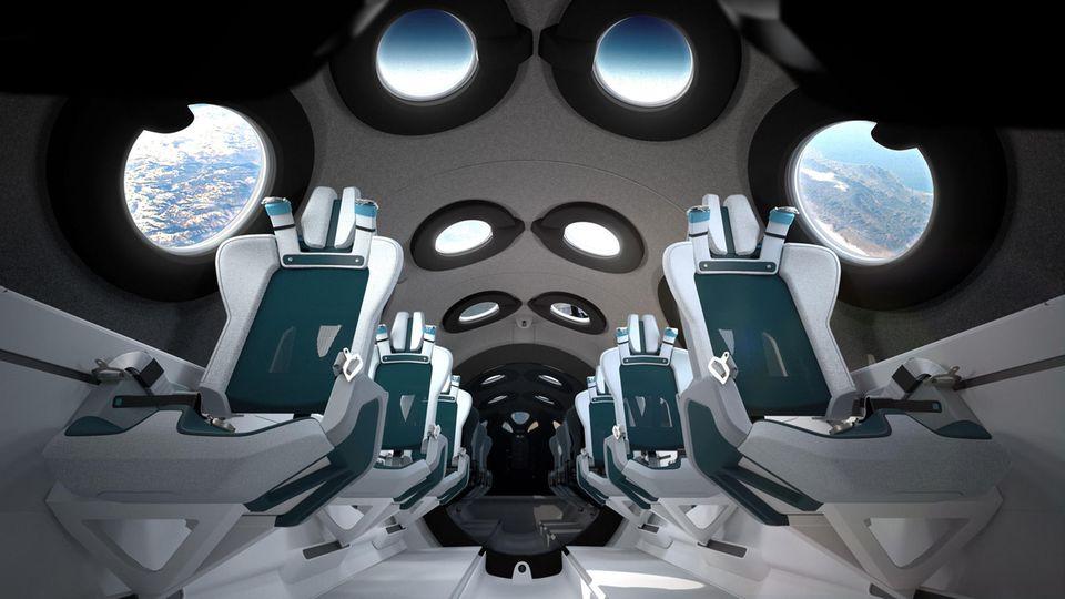 Bild 1 von 12der Fotostrecke zum Klicken:Willkommen an Bord des Raumgleitersvon Virgin Galactic: Sechs Weltraumpassagiere können hier Platz nehmen.