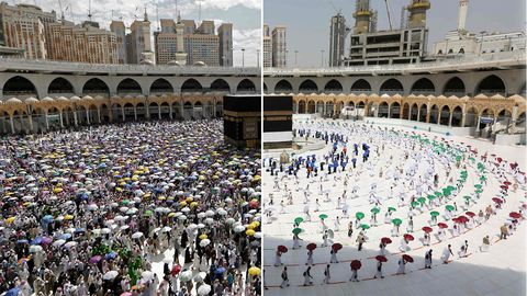 Mekka Vorher-Nachher: Wie Corona die weltberühmte Wallfahrt Hadsch verändert