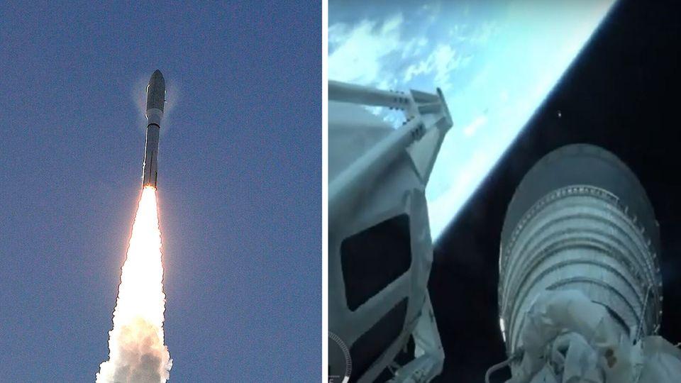 """Cape Canaveral: Eine """"Atlas-V""""-Rakete startet in Cape Canaveral. An Bord der Rakete befindet sich der Mars Rover """"Perseverance""""."""
